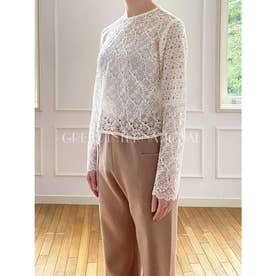 [GREED]Floral Geometric Chemical Lace ショートブラウス (WHITE)
