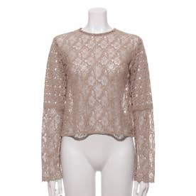 [GREED]Floral Geometric Chemical Lace ショートブラウス (BEIGE)