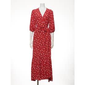 [BED&BREAKFAST]Summer Flower Jacquard ラップドレス (RED)