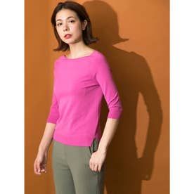 [BED&BREAKFAST]Fine Stretch Boat Neck Knit Sweater (PINK)