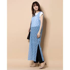 [GREED]Floral Geometric Chemical Lace ドレス (BLUE)