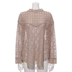 [GREED]Floral Geometric Chemical Lace モックネックブラウス (BEIGE)
