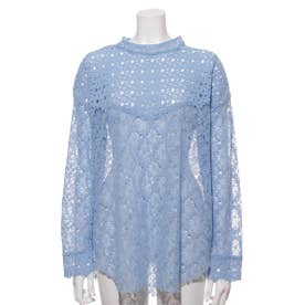 [GREED]Floral Geometric Chemical Lace モックネックブラウス (BLUE)