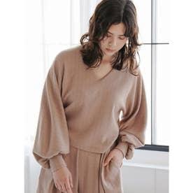 [GREED]Super120s Wool Stripe Jacquard パフブラウス (BEIGE)