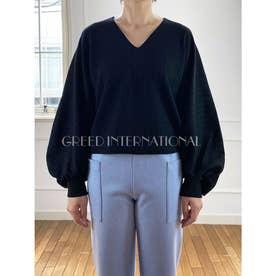 [GREED]Super120s Wool Stripe Jacquard パフブラウス (NAVY)