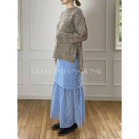 [GREED]Floral Geometric Chemical Lace スカート (BLUE)