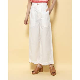[BED&BREAKFAST]Air Stretch Typewriter Frill Pants (OFF WHITE)