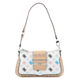 GRETA Peony Q Logo Top Zip Shoulder Bag (WHITE MULTI)