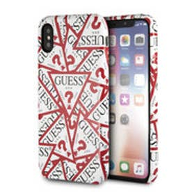 PU LEATHER CASE TRIANGLE LOGO for iPhone X (ALL OVER WHITEAND RED)【JAPAN EXCLUSIVE ITEM】