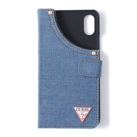 TRIANGLE METAL LOGO BOOKTYPE CASE for iPhone X (JEWEL BLUE A718)