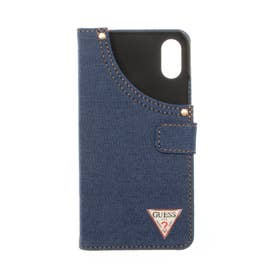 Guess Booktype Case With Dark Blue Jean And Triangle Metal L (DARK BLUE)