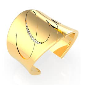 LIQUID Italic Logo Open Bangle (Gold) (GOLD)