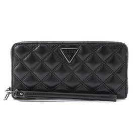 CESSILY Quilted Large Zip Around Wallet (BLACK)