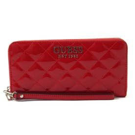 MELISE Quilted Patent Large Zip Around Wallet (RED)