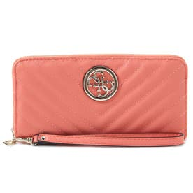 KAMRYN Quilted Large Zip Around Wallet (CORAL)