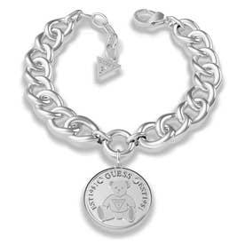 VINTAGE BEAR Bear Coin Curb Chain Bracelet (Silver) (SILVER)