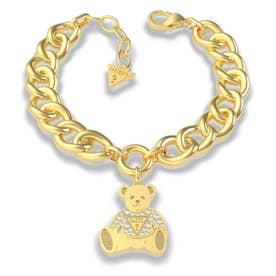 VINTAGE BEAR Bear Charm Curb Chain Bracelet (Gold) (GOLD)