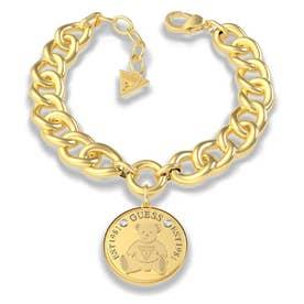 VINTAGE BEAR Bear Coin Curb Chain Bracelet (Gold) (GOLD)