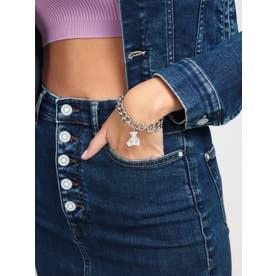 VINTAGE BEAR Bear Charm Curb Chain Bracelet (Silver) (SILVER)