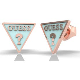 DREAM & LOVE Light Blue Triangle Logo Studs Pierce (Rose Gold) (ROSE GOLD)