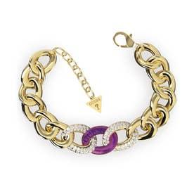 CHAINS RULE Mid Purple & 2 Links Pave Bracelet (GOLD) (YGPP)