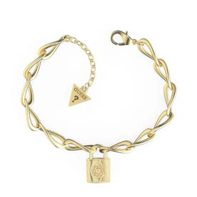 KEEP ME CLOSE Bold Chain 4G&Peony Padlock Bracelet (Gold) (YG)
