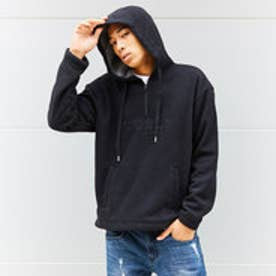 LOGO FLEECE HOODED HALF ZIP UP PARKA (BLACK)