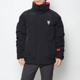 TRIANGLE LOGO DOUBLE-NECK DOWN JACKET (BLACK)