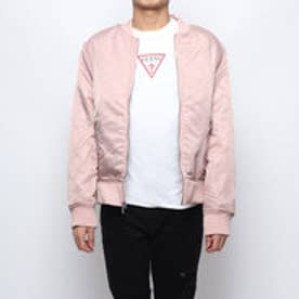 KENNITH CONTRAST-TRIM BOMBER JACKET (BRICK ROSE)
