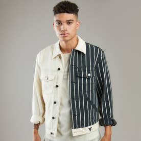Dillon Half-Striped Denim Jacket (Color Block Wash)