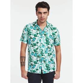 Resort S/S Shirt (GREEN LEAVES ON WHT)