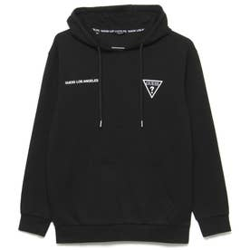 Unisex Small Triangle Logo Hooded Pullover Parka (BLACK)