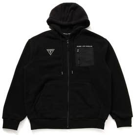 Unisex Small Triangle Logo Hooded Zip-Up Parka (BLACK)