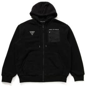 Unisex Small Triangle Logo Hooded Zip-Up Parka (BLACK)