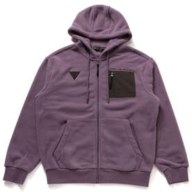 Unisex Small Triangle Logo Hooded Zip-Up Parka (LAVENDER)