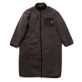Boa Padding Zip-Up Long Jacket (DARK GREY)