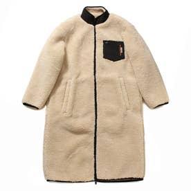 Boa Padding Zip-Up Long Jacket (LIGHT BEIGE)