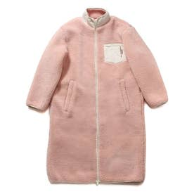 Boa Padding Zip-Up Long Jacket (PINK)