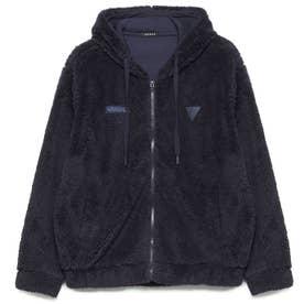 Unisex Boa Hooded Zip-Up Jacket (NAVY)