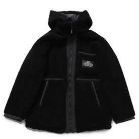 Reversible Hooded Boa Zip-Up Jacket (BLACK)