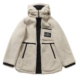 Reversible Hooded Boa Zip-Up Jacket (IVORY)