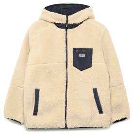 Embroidery Logo Boa Padding Hooded Zip Up Jacket (BEIGE)
