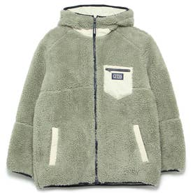 Embroidery Logo Boa Padding Hooded Zip Up Jacket (MINT)