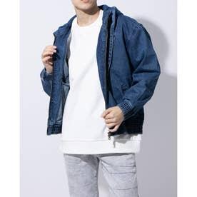 Triangle Logo Denim Hooded Jacket (DARK BLUE)