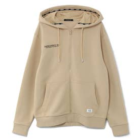 Logo Hooded Zip-Up Parka (BEIGE)