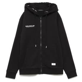 Logo Hooded Zip-Up Parka (BLACK)