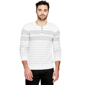 Kevin Striped Henley Sweater (PURE WHITE MULTI)