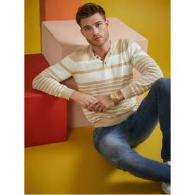 Kevin Striped Henley Sweater (TAN)