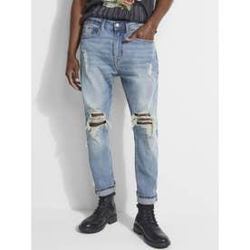Distressed Tapered Crop Denim Pant (VINTAGE INDIGO)