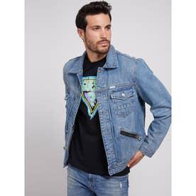 Zip Pocket Denim Jacket (MEDIUM VINTAGE BLUE)